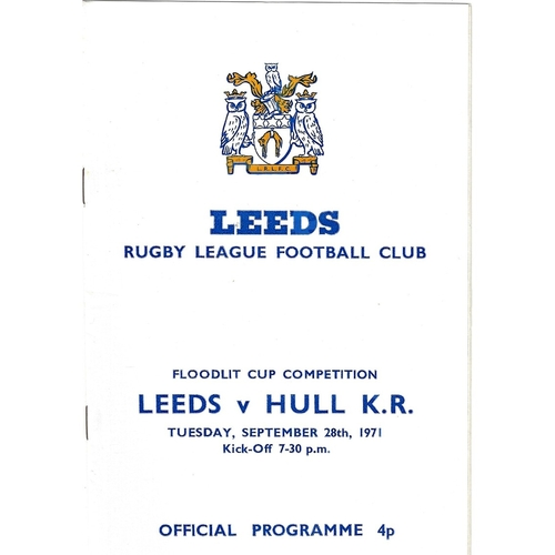 1971/72 Leeds v Hull Kingston Rovers BBC 2 Floodlit Cup Competition Rugby League programme
