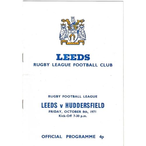 1971/72 Leeds v Huddersfield Rugby League programme