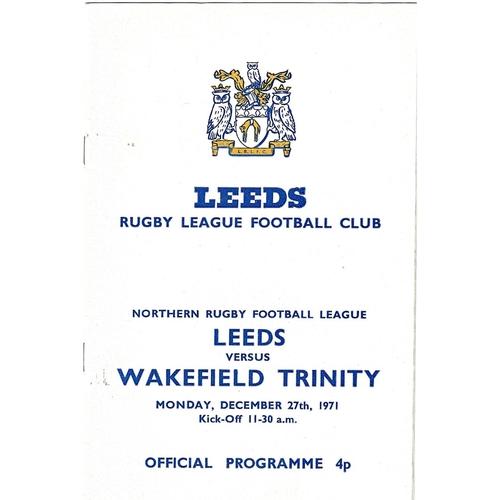 1971/72 Leeds v Wakefield Trinity Rugby League programme