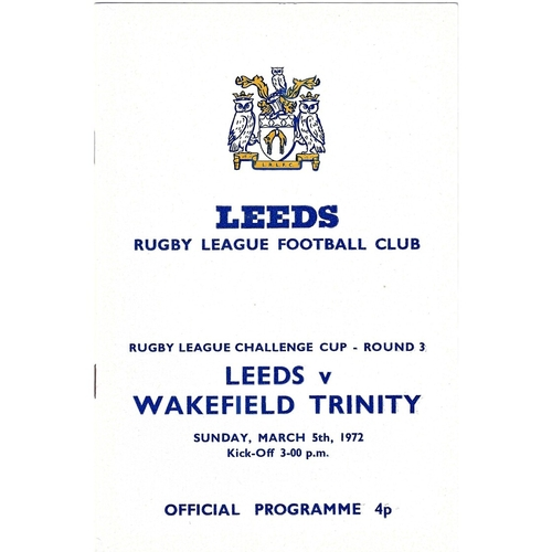 1971/72 Leeds v Wakefield Trinity Rugby League Challenge Cuo Round Three programme