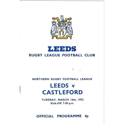 1971/72 Leeds v Castleford Rugby League programme