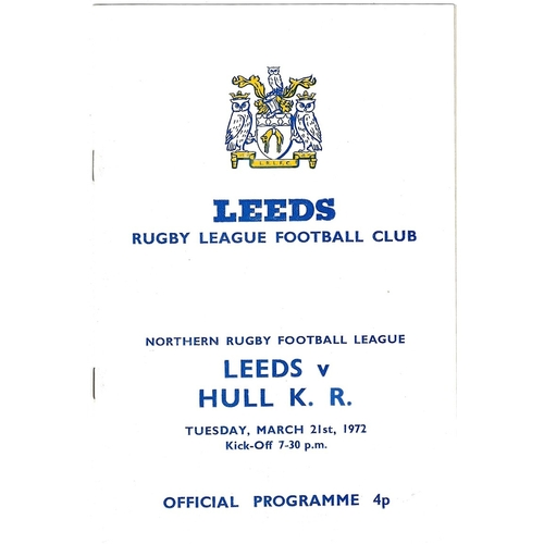 1971/72 Leeds v Hull Kingston Rovers Rugby League programme