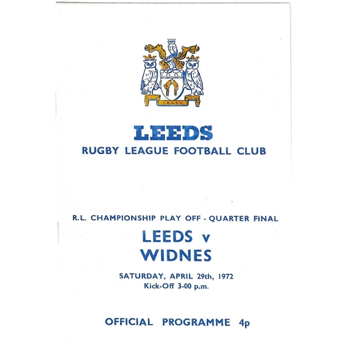 1971/72 Leeds v Widnes Rugby League Championship Play Off Quarter Final programme