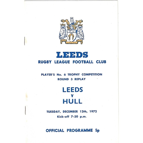1972/73 Leeds v Hull Players No. 6 Trophy Competition Round 3 replay Rugby League programme