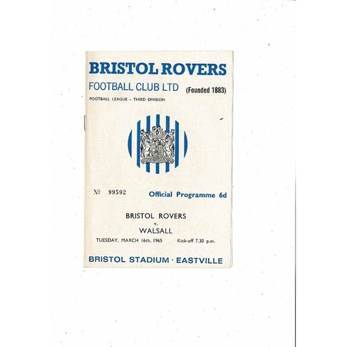 1964/65 Bristol Rovers v Walsall Football Programme