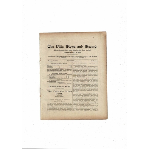 1913/14 Aston Villa v Everton Football Programme