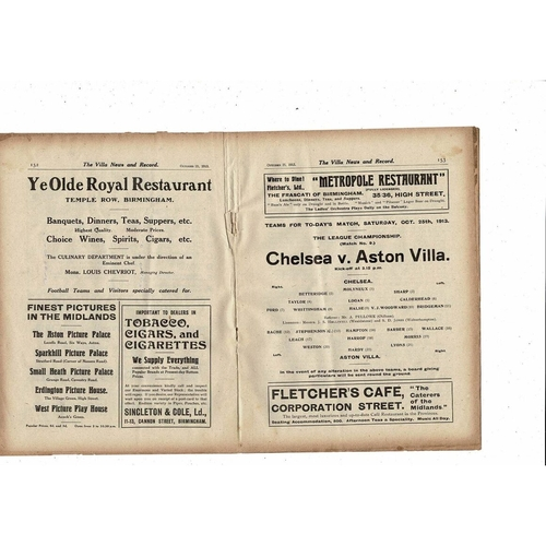 1913/14 Aston Villa v Chelsea Football Programme