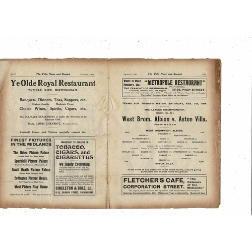 1913/14 Aston Villa v West Bromwich Albion Football Programme