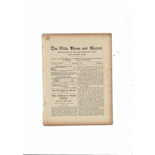 1913/14 Aston Villa v Burnley Football Programme