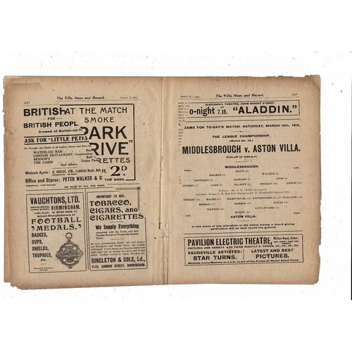 1914/15 Aston Villa v Middlesbrough Football Programme