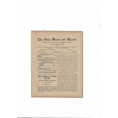 1914/15 Aston Villa v Blackburn Rovers Football Programme