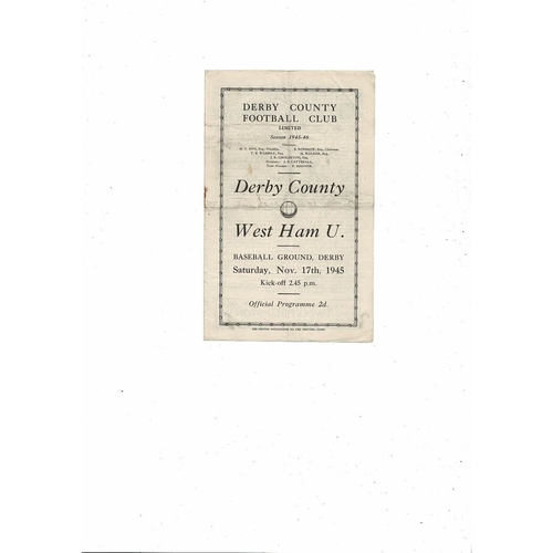 1945/46 Derby County v West Ham United Football Programme
