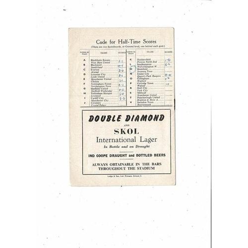 1965/66 Bristol Rovers v Oxford United Football Programme