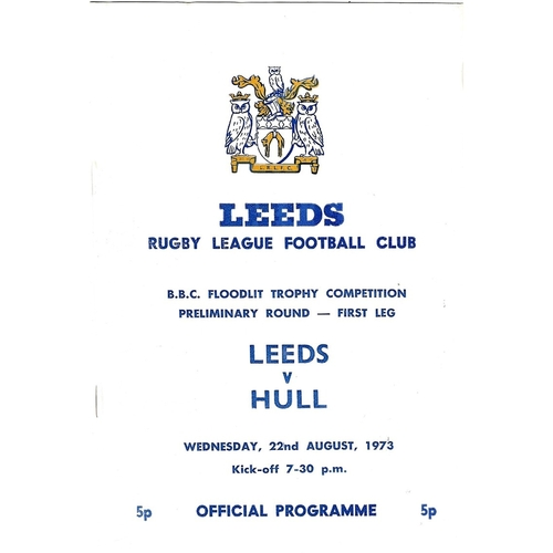 1973/74 Leeds v Hull BBC Floodlit Trophy Competition Preliminary Round - First Leg Rugby League programme
