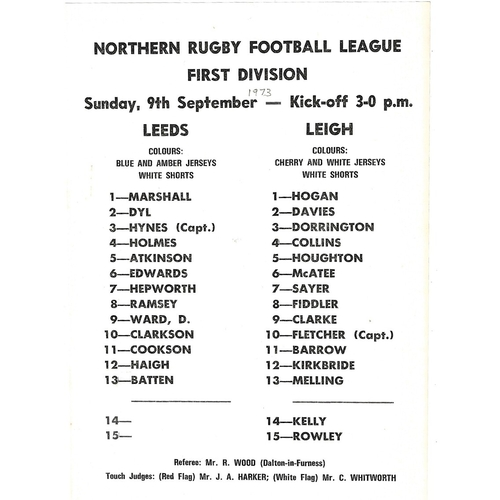1973/74 Leeds v Leigh Rugby League Team Sheet