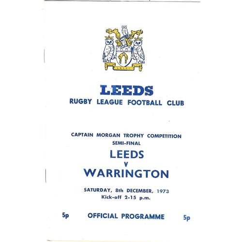 1973/74 Leeds v Warrington Captain Morgan Trophy Competition Semi Final Rugby League programme