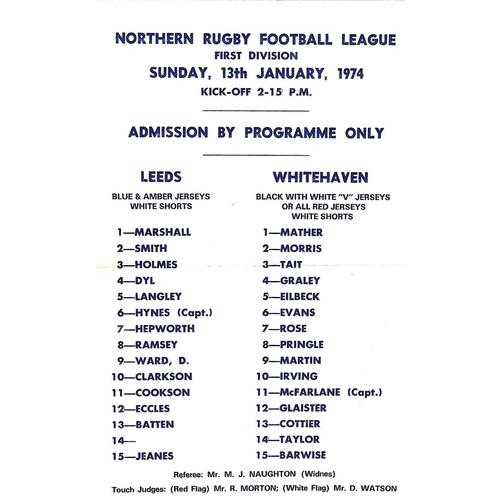 1973/74 Leeds v Whitehaven Rugby League Team Sheet