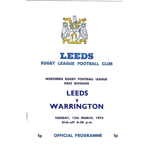 1973/74 Leeds v Warrington Rugby League programme