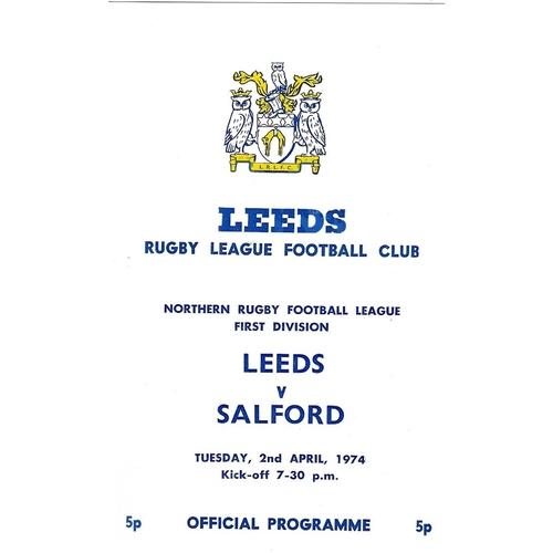 1973/74 Leeds v Salford Rugby League programme