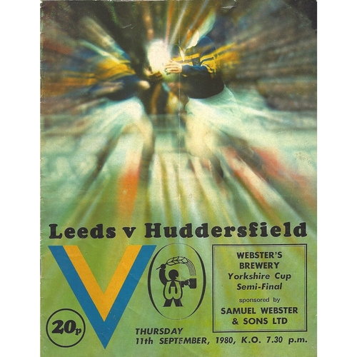 1980/81 Leeds v Huddersfield Yorkshire Cup Semi Final Rugby League programme