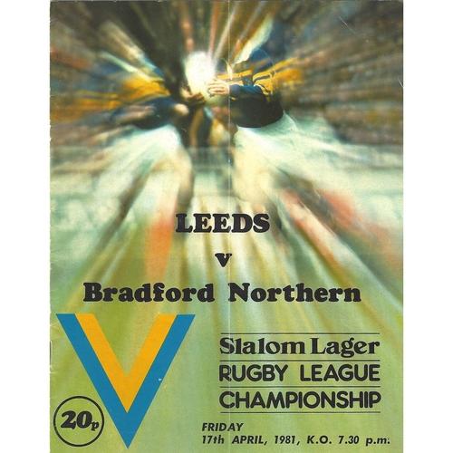 1980/81 Leeds v Bradford Northern Rugby League programme