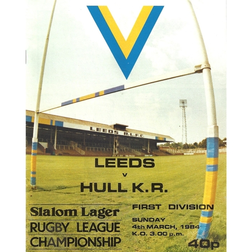 1983/84 Leeds v Hull Kingston Rovers Rugby League programme