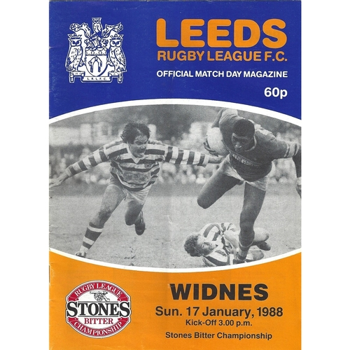 1987/88 Leeds v Widnes Rugby League programme