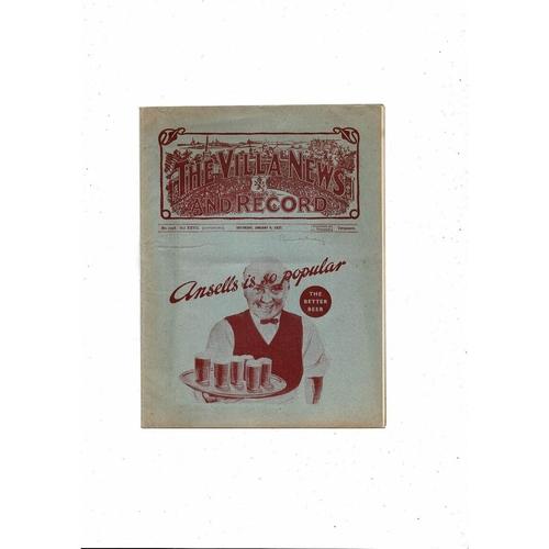 1936/37 Aston Villa v Burnley Football Programme Jan 9th