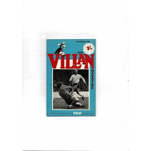 Aston Villa - Supporters Association The Villan Sept 1968
