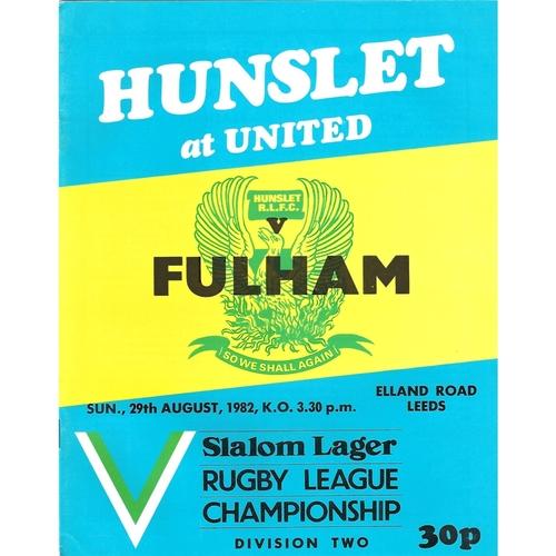 1982/83 Hunslet v Fulham Rugby League programme