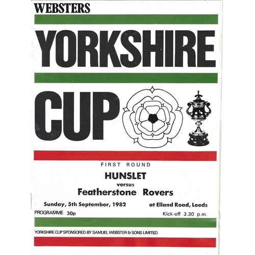 1982/83 Hunslet v Featherstone Rovers Yorkshire Cup 1st Round Rugby League programme