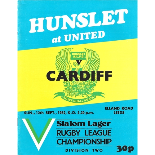 1982/83 Hunslet v Cardiff City Rugby League programme