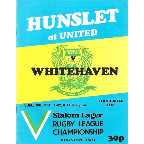 1982/83 Hunslet v Whitehaven Rugby League programme