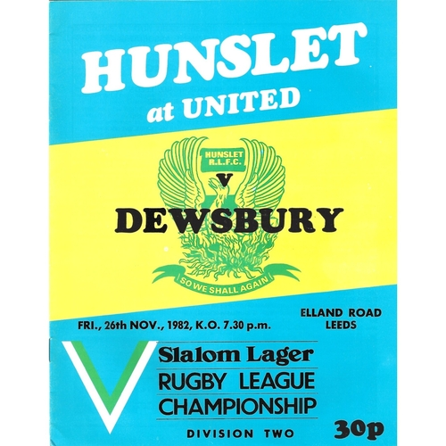 1982/83 Hunslet v Dewsbury Rugby League programme