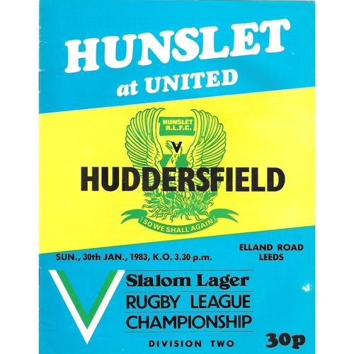 Hunslet Home Rugby League Programmes