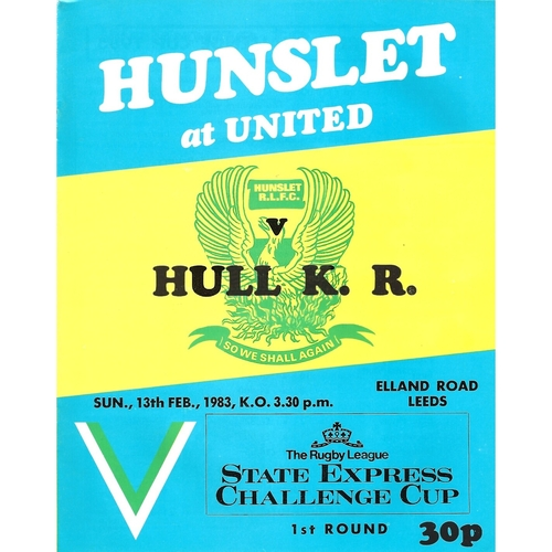 1982/83 Hunslet v Hull Kingston Rovers Rugby League Challenge Cup 1st Round programme