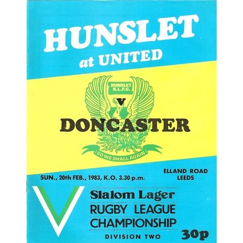 1982/83 Hunslet v Doncaster Rugby League programme