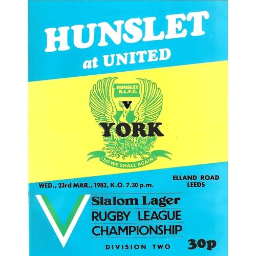 1982/83 Hunslet v York Rugby League programme