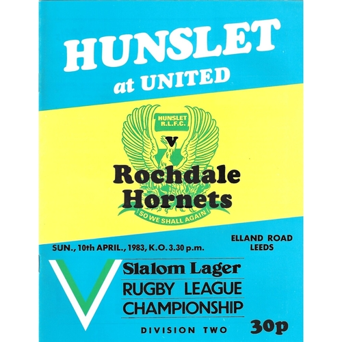 1982/83 Hunslet v Rochdale Hornets Rugby League programme
