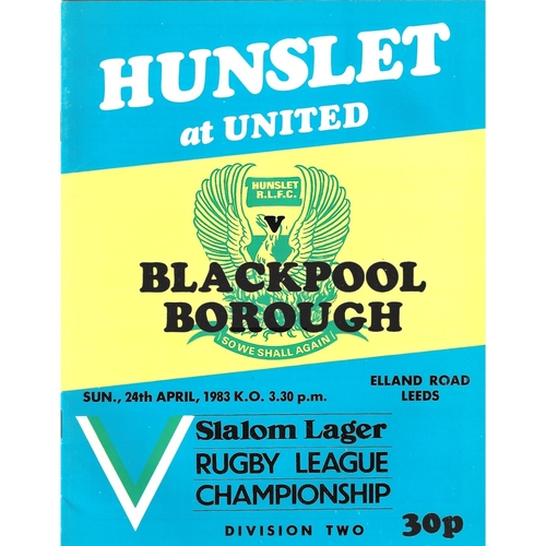 1982/83 Hunslet v Blackpool Borough Rugby League programme