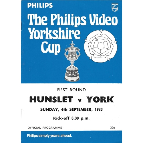 1983/84 Hunslet v York Yorkshire Cup 1st Round Rugby League programme