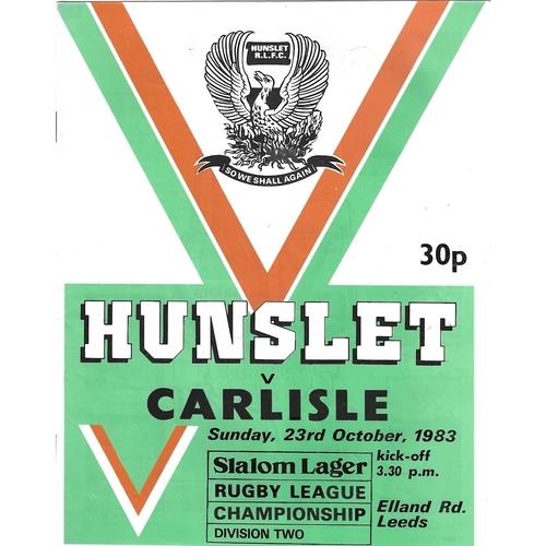 1983/84 Hunslet v Carlisle Rugby League programme