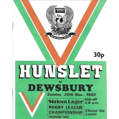 1983/84 Hunslet v Dewsbury Rugby League programme
