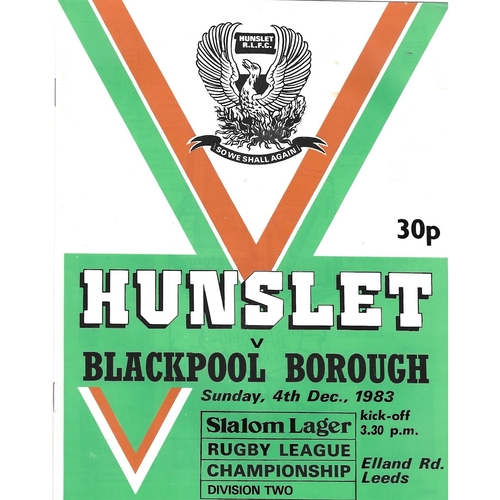 1983/84 Hunslet v Blackpool Borough Rugby League programme