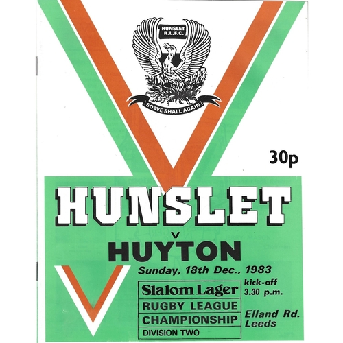 1983/84 Hunslet v Huyton Rugby League programme