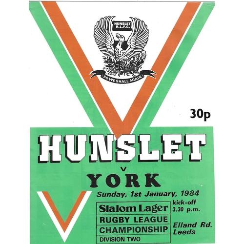 1983/84 Hunslet v York Rugby League programme