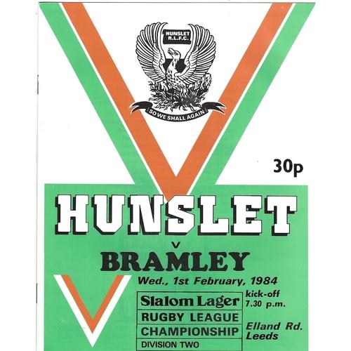 1983/84 Hunslet v Bramley Rugby League programme