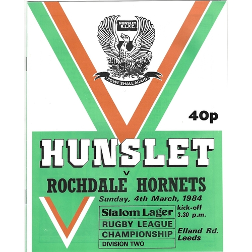1983/84 Hunslet v Rochdale Hornets Rugby League programme