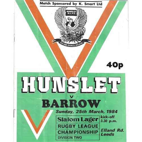 1983/84 Hunslet v Barrow Rugby League programme