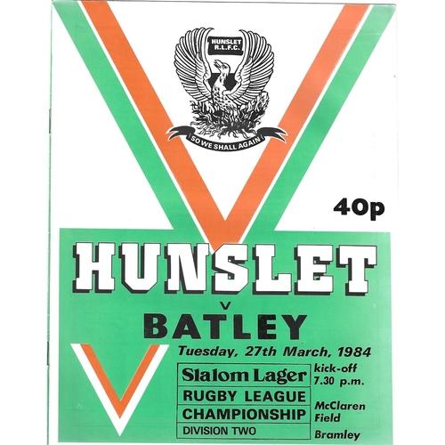 1983/84 Hunslet v Batley Rugby League programme